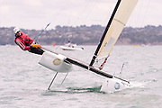 Murray Philpott (NZL1), race one of the A Class World championships regatta being sailed at Takapuna in Auckland. 11/2/2014