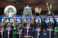 Joie PSG - Thiago Silva / Lucas Moura / Zlatan Ibrahimovic / Blaise Matuidi / Zoumana Camara - 30.05.2015 - Auxerre / Paris Saint Germain - Finale Coupe de France<br />Photo : Andre Ferreira / Icon Sport