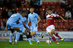 Swindon Midfielder Massimo Luongo (AUS) in action during the first half of the match - Photo mandatory by-line: Rogan Thomson/JMP - Tel: Mobile: 07966 386802 08/10/2013 - SPORT - FOOTBALL - County Ground, Swindon - Swindon Town v Plymouth Argyle - Johnstone Paint Trophy Round 2.