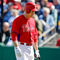 Mar 6, 2013; Clearwater, FL, USA; Philadelphia Phillies second baseman Chase Utley (26) reacts after striking out against the Washington Nationals during the bottom of the fifth inning of a spring training game at Bright House Field. Mandatory Credit: Derick E. Hingle-USA TODAY Sports