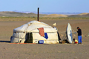 GOBI DESERT, MONGOLIA..08/29/2001.Tzochorinam, gers belonging to the family of wealthy camel herder and local hero Chimiddorj. Satellite dish..(Photo by Heimo Aga).