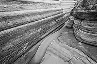 Striations in sandstone, eroded over time in the Valley of Fire State Park in Nevada.