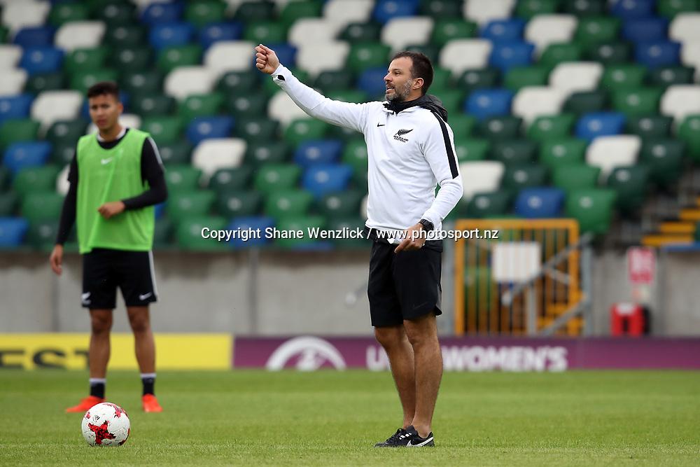 Coach Anthony Hudson. All Whites training, Windsor Park, Belfast, Northern Ireland, Monday 29th May 2017. Photo: Shane Wenzlick / www.photosport.nz