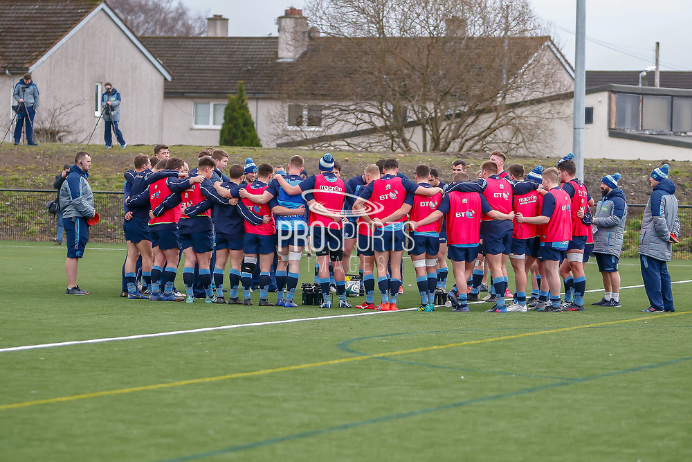 Scotland Squad assembles  during the training session and press conference for Scotland Rugby at Clydebank Community Sports Hub, Clydebank, Scotland on 13 February 2019.