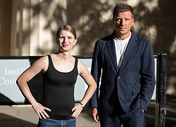 © Licensed to London News Pictures. 01/10/2018. London, UK. American whistleblower Chelsea Manning (left) and Director of the Institute of Contemporary Arts Stefan Kalmar (right) pose for photos ahead of a public talk as guest of honour at the Institute of Contemporary Arts annual dinner. Photo credit : Tom Nicholson/LNP