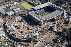 © Licensed to London News Pictures. 26/04/2016. London, UK. White Hart Lane has been partially demolished ahead of the building of Tottenham 's new 61,000-seater stadium. The state-of-the-art stadium will include a 17,000-seater single tier stand as well as a retractable pitch that will allow Spurs to host NFL matches. Photo credit: Martin Apps/LNP