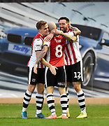 Goal - Ryan Bowman (12) of Exeter City celebrates after he scores a goal to give a 1-0 lead during the EFL Sky Bet League 2 match between Exeter City and Cambridge United at St James' Park, Exeter, England on 11 January 2020.