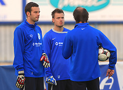 Goalkeeper of Slovenia Samir Handanovic (1) and Aleksander Seliga (12) at practice of Slovenian men National team, on October 13, 2008, in Domzale, Slovenia.  (Photo by Vid Ponikvar / Sportal Images)