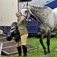 Blair Castle Horse Trials 2012 Photo Essay at Blair Castle, Blair Atholl, Perthshire. Diane Brash aged 39 is delighted with her second place in her first Ridden Hunter class with her horse Rehy Striker.  Picture Christian Cooksey.