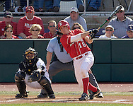Nebraska's Jeff Christy (R) drives a double to lead off the top of the sixth inning against Kansas State.  Nebraska held on to beat Kansas State 5-4 at Tointon Stadium in Manhattan, Kansas, April 1, 2006.