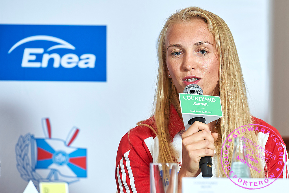 Warsaw, Poland - 2017 October 03: Agnieszka Kobus (AZS AWF Warszawa) Polish rower W4x speaks during press conference of Polish Rowing National Team at Chopin Airport on October 03, 2017 in Warsaw, Poland.<br /> <br /> Mandatory credit:<br /> Photo by &copy; Adam Nurkiewicz / Mediasport<br /> <br /> Adam Nurkiewicz declares that he has no rights to the image of people at the photographs of his authorship.<br /> <br /> Picture also available in RAW (NEF) or TIFF format on special request.<br /> <br /> Any editorial, commercial or promotional use requires written permission from the author of image.