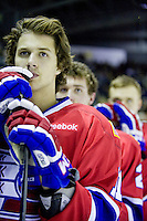 KELOWNA, CANADA, DECEMBER 27:  Liam Stewart #11 of the Spokane Chiefs stands on the bench at the Kelowna Rockets on December 7, 2011 at Prospera Place in Kelowna, British Columbia, Canada (Photo by Marissa Baecker/Getty Images) *** Local Caption ***