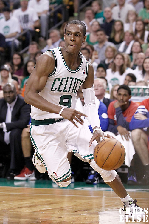 26 May 2012: Boston Celtics point guard Rajon Rondo (9) goes to the basket during the Boston Celtics 85-75 victory over the Philadelphia Sixer, in Game 7 of the Eastern Conference semifinals playoff series, at the TD Banknorth Garden, Boston, Massachusetts, USA.