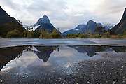 car park relection of Mitre Peak, Milford Sound, Fiordland, New Zealand