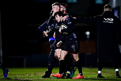 Guinness PRO14, Rodney Parade, Newport, UK 06/03/2020<br /> Dragons vs Benetton Rugby<br /> Rhodri Williams of Dragons celebrates scoring his sides first try of the game <br /> Mandatory Credit ©INPHO/Ryan Hiscott