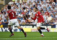 Photo: Chris Ratcliffe.<br />Reading v Manchester United. The Barclays Premiership. 23/09/2006.<br />Cristiano Ronaldo of Manchester United celebrates scoring the first Man Utd goal.