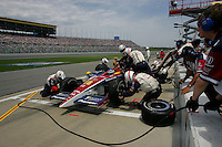 Danica Patrick pits at the Kansas Speedway, Kansas Indy 300, July 3, 2005