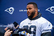 LA Rams Defensive Lineman Aaron Donald (99) during the training session for Los Angeles Rams at the Los Angeles Memorial Coliseum, Los Angeles, USA on 25 October 2019.