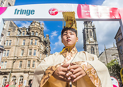 Cast members of Shenzhen's First International Children's Drama on Edinburgh's Royal Mile