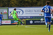 Forest Green Rovers Darren Carter(12) shoots at goal scores a goal 1-0 during the Vanarama National League match between Forest Green Rovers and Guiseley  at the New Lawn, Forest Green, United Kingdom on 22 October 2016. Photo by Shane Healey.
