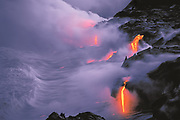 Lava flow entering the sea at twilight, Hawaii Volcanoes National Park, Hawaii  1994