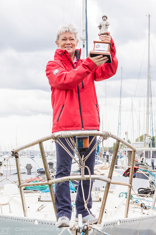Tracy Edwards MBE with Beefeater trophy on board Maiden, the boat that made history 27 years ago.<br /> <br /> Tracy Edwards MBE and crew reunited with Maiden 27 years after sailing into the history books. Maiden and her all-female crew competed in the Whitbread Round The World Race in 1989/90 winning two legs and coming second overall. Over the next 12 months, Maiden will be restored in Hamble near Southampton. She will then sail around the world as an ambassador for the Maiden Factor, to promote access to education for girls.<br /> Picture date: Monday April 24, 2017.<br /> Photograph by Christopher Ison &copy; Empics<br /> 07544044177<br /> chris@christopherison.com<br /> www.christopherison.com