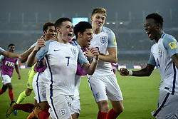 October 28, 2017 - Kolkata, West Bengal, India - England players celebrates Spain goal the FIFA U 17 World Cup India 2017 Final match in Kolkata.Player of England and Spain in action during the FIFA U 17 World Cup India 2017 Final match on October 28, 2017 in Kolkata. England wins FIFA U 17 World Cup 5 - 2 goals against Spain. (Credit Image: © Saikat Paul/Pacific Press via ZUMA Wire)