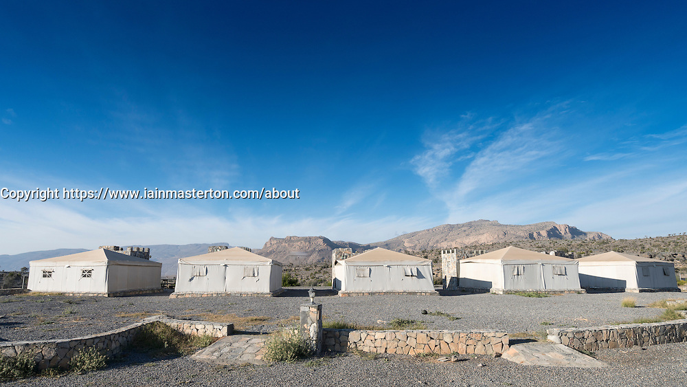 View of traditional Arabic Tents at Jebel Shams Resort hotel on Jebel Shams mountain in Oman