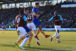 7th January 2018 - FA Cup - 3rd Round - Shrewsbury Town v West Ham United - Ben Godfrey of Shrewsbury narrowly fails to connect - Photo: Simon Stacpoole / Offside.