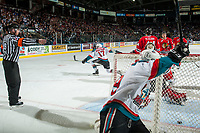 KELOWNA, CANADA - APRIL 14: Rodney Southam #17 of the Kelowna Rockets celebrates a first period goal against the Portland Winterhawks on April 14, 2017 at Prospera Place in Kelowna, British Columbia, Canada.  (Photo by Marissa Baecker/Shoot the Breeze)  *** Local Caption ***