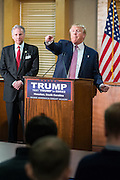 Republican presidential candidate billionaire Donald Trump calls on a member of the media during a press conference February 15, 2016 in Hanahan, South Carolina.