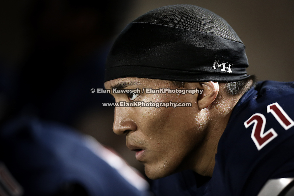 Emmanuel Moody #21 of the Boston Brawlers is seen on the sidelines during the first ever Boston Brawlers home game at Harvard Stadium on October 24, 2014 in Boston, Massachusetts. (Photo by Elan Kawesch)