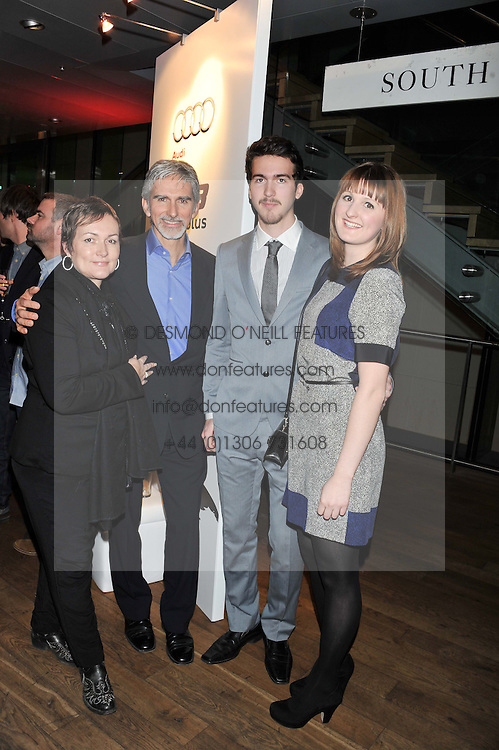 Left to right, DAMON & GEORGIE HILL, their son JOSHUA HILL and VERONICA WESOLOWSKI at the Motor Sport magazine's 2013 Hall of Fame awards at The Royal Opera House, London on 25th February 2013.