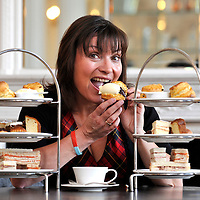 Lorraine Kelly has high tea at the Salon, Blythswood Square Hotel.