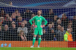 MANCHESTER, ENGLAND - Tuesday, March 13, 2018: Manchester United's goalkeeper David de Gea looks dejected as Sevilla score the second goal during the UEFA Champions League Round of 16 2nd leg match between Manchester United FC and Sevilla FC at Old Trafford. (Pic by David Rawcliffe/Propaganda)