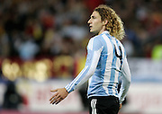 Argentina's Fabricio Coloccini reacts during the international friendly match between Spain and Argentina in Madrid, Spain on November 14 2009.