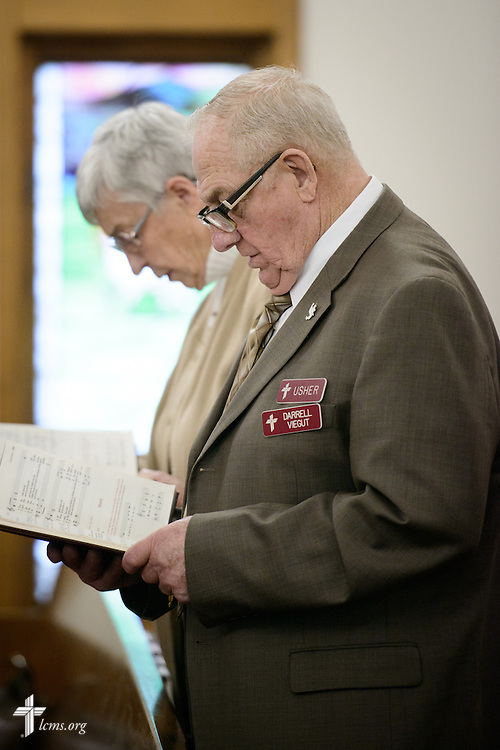 Parishioner Darrell Viegut worships at  Mount Olive Lutheran Church on Wednesday, March 2, 2016, in Loveland, Colo. LCMS Communications/Erik M. Lunsford