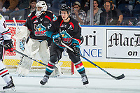 KELOWNA, CANADA - OCTOBER 20: James Hilsendager #2 of the Kelowna Rockets looks for the pass against the Portland Winterhawks on October 20, 2017 at Prospera Place in Kelowna, British Columbia, Canada.  (Photo by Marissa Baecker/Shoot the Breeze)  *** Local Caption ***