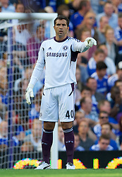 LONDON, ENGLAND - Saturday, August 20, 2011: Chelsea's goalkeeper Henrique Hilario in action against West Bromwich Albion during the Premiership match at Stamford Bridge. (Pic by David Rawcliffe/Propaganda)