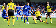 Jake Buxton of Burton Albion and Kenneth Zohore of Cardiff City during the Sky Bet Championship match at the Pirelli Stadium, Burton upon Trent<br /> Picture by Mike Griffiths/Focus Images Ltd +44 7766 223933<br /> 05/08/2017