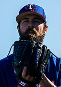 Texas Rangers starting pitcher Cole Hamels (35) prepares to pitch during a spring training workout at the team's training facility on Tuesday, February 15, 2017 in Surprise, Arizona. (Ashley Landis/The Dallas Morning News)