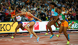 LONDON, Aug. 12, 2017  Dafne Schippers (2nd L) of the Netherlands crosses the finishing line during Women's 200m Final on Day 8 of the 2017 IAAF World Championships at London Stadium in London, Britain, on Aug. 11, 2017. Dafne Schippers claimed the title with 22.05 seconds. (Credit Image: © Wang Lili/Xinhua via ZUMA Wire)