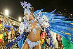 """A performer from the """"Em Cima da Hora"""" samba school participates in the first night of the annual Carnival parade at the Sambadrome in Rio de Janeiro, Brazil, Feb. 13, 2015. EXPA Pictures © 2015, PhotoCredit: EXPA/ Photoshot/ Xu Zijian<br /> <br /> *****ATTENTION - for AUT, SLO, CRO, SRB, BIH, MAZ only*****"""