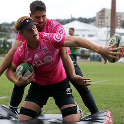 DURBAN, SOUTH AFRICA - MAY 15: Kobus van Wyk of the Cell C Sharks and Philip van der Walt of the Cell C Sharks during the Cell C Sharks training session at Jonsson Kings Park on May 15, 2018 in Durban, South Africa. (Photo by Steve Haag/Gallo Images)