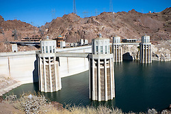 The Arizona side of the Hoover Dam as the Colorado River approaches the historic structure.