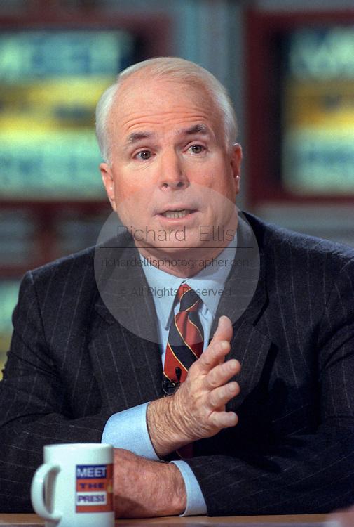 Senator John McCain discusses the situation in Kosovo during NBC's Meet the Press April 11, 1999 in Washington, DC.