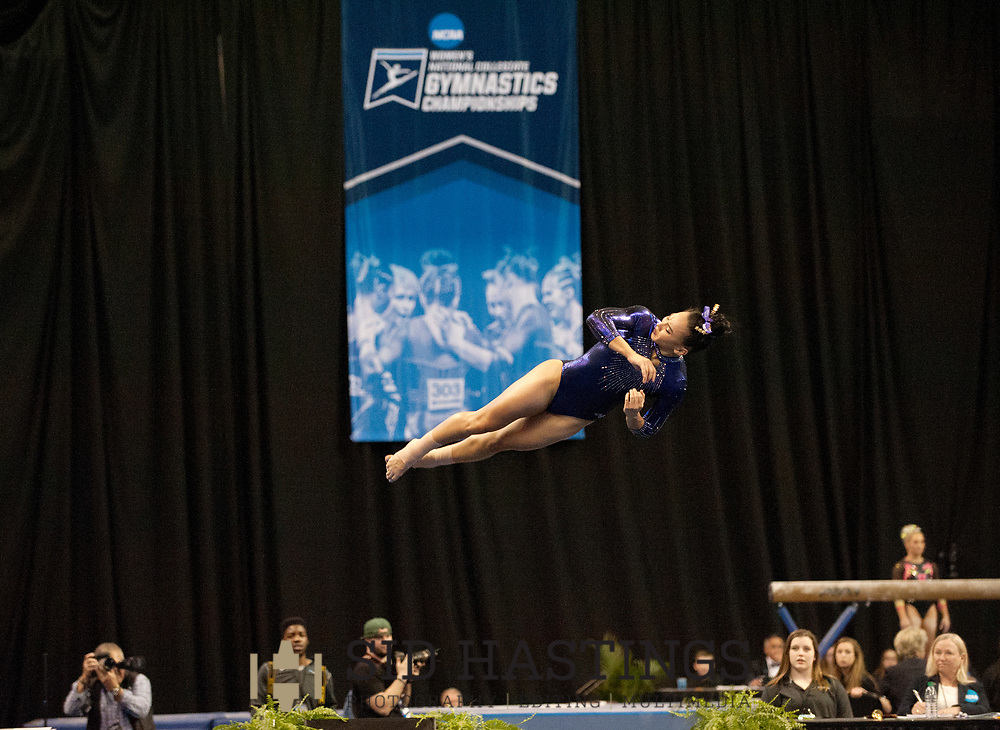 21 APRIL 2018 -- ST. LOUIS -- LSU gymnast Myia Hambrick competes in the Floor Exercise during the 2018 NCAA Women's Gymnastics Championship Super Six at Chaifetz Arena in St. Louis Saturday, April 21, 2018. The Tigers finished fourth in the nation during the meet.<br /> Photo &copy; copyright 2018 Sid Hastings.