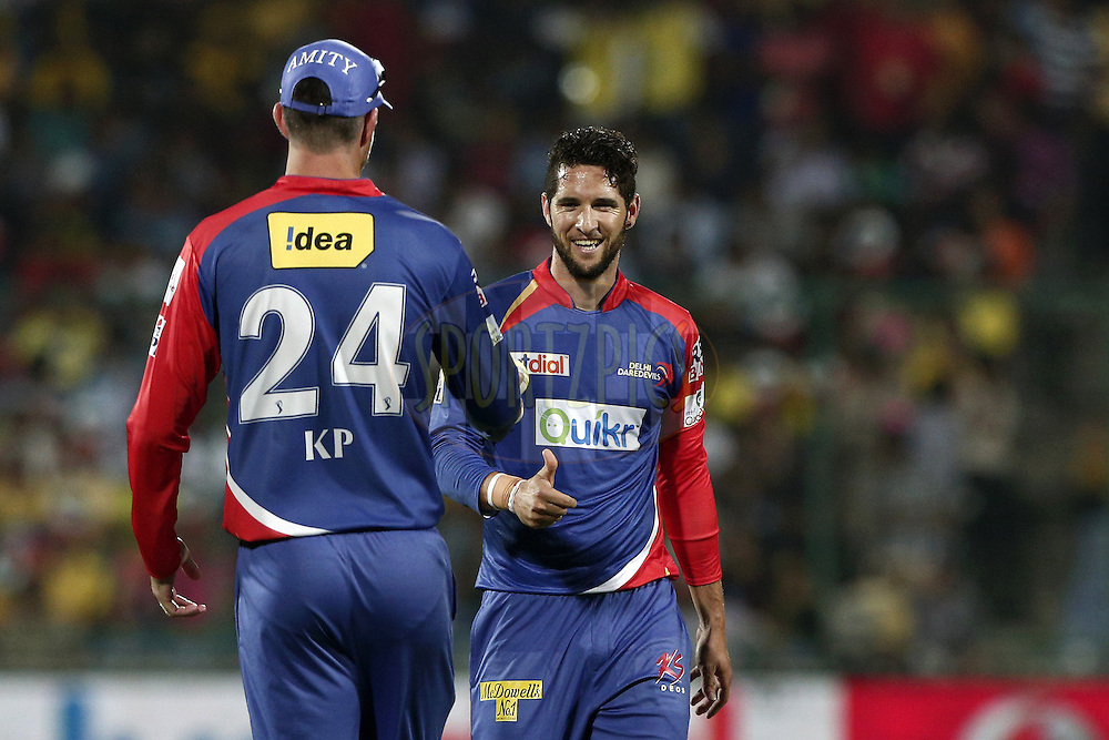 Wayne Parnell of the Delhi Daredevils talk with Kevin Pietersen captain of of the Delhi Daredevils during match 26 of the Pepsi Indian Premier League Season 2014 between the Delhi Daredevils and the Chennai Superkings held at the Ferozeshah Kotla cricket stadium, Delhi, India on the 5th May  2014<br /> <br /> Photo by Deepak Malik / IPL / SPORTZPICS<br /> <br /> <br /> <br /> Image use subject to terms and conditions which can be found here:  http://sportzpics.photoshelter.com/gallery/Pepsi-IPL-Image-terms-and-conditions/G00004VW1IVJ.gB0/C0000TScjhBM6ikg