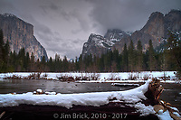 'Valley View'. The Merced river, El Capitan, and threatening storm clouds.