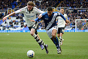 Fulham defender Richard Stearman and Birmingham City midfielder David Davis battle for the ball during the Sky Bet Championship match between Birmingham City and Fulham at St Andrews, Birmingham, England on 19 March 2016. Photo by Alan Franklin.